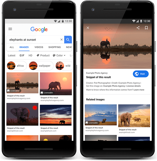 Google Search Image Licensing changes
